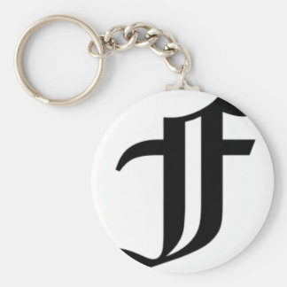 F-text Old English Basic Round Button Key Ring