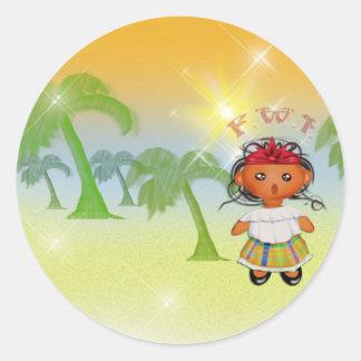 F.W.I. French West Indies Round Sticker
