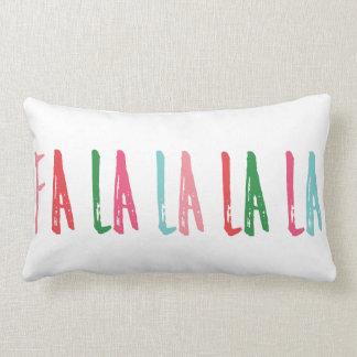 Fa La La La Brush Lettering Christmas Holiday Lumbar Cushion