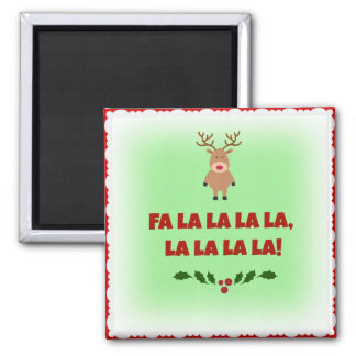 Fa La La La La Christmas Square Button Magnet