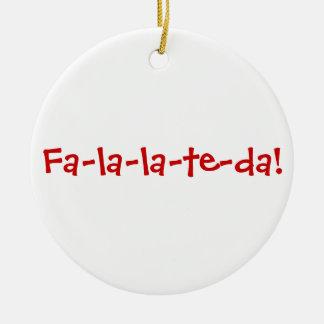 Fa-la-la-te-da! Red on White Ceramic Ornament