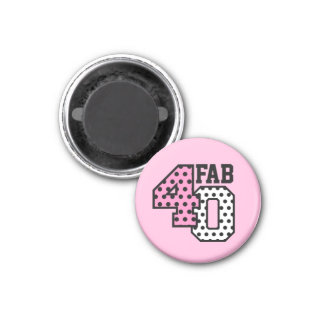 FAB 40th Birthday PINK BLACK WHITE POLKA DOTS 3 Cm Round Magnet