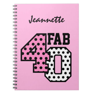 FAB 40th Birthday PINK BLACK WHITE POLKA DOTS Notebook