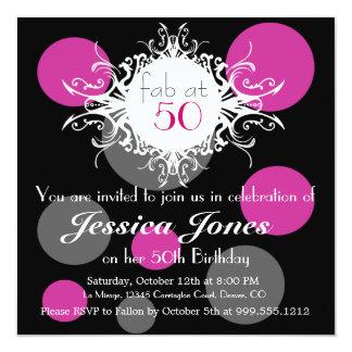 Fab at 50 Custom Birthday Party Invitation