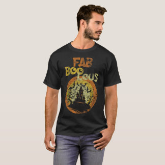FAB BOO LOUS Funny Halloween Ghost Distressed T-Shirt