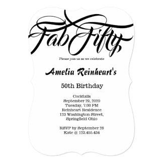 Fab Fifty 50 Birthday Party 13 Cm X 18 Cm Invitation Card