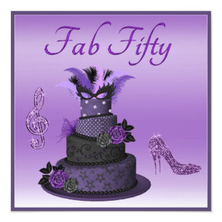 Fab Fifty Purple Diva Cake, Sparkle High Heels 13 Cm X 13 Cm Square Invitation Card