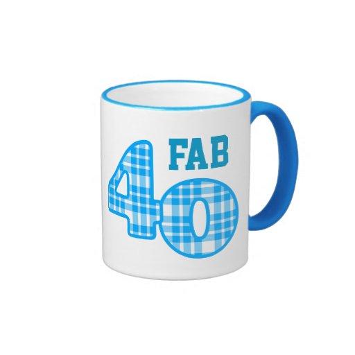 FAB Forty 40th Birthday AQUA Plaid Coffee Mugs