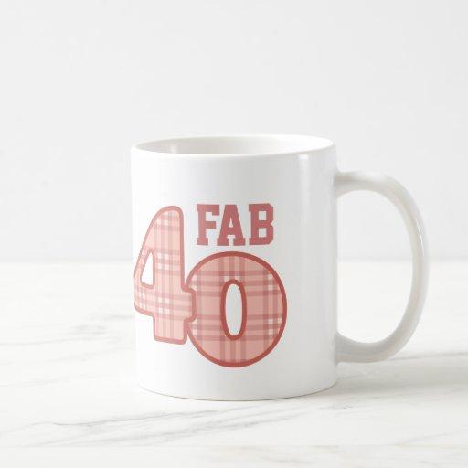 FAB Forty 40th Birthday PEACH Plaid Mug