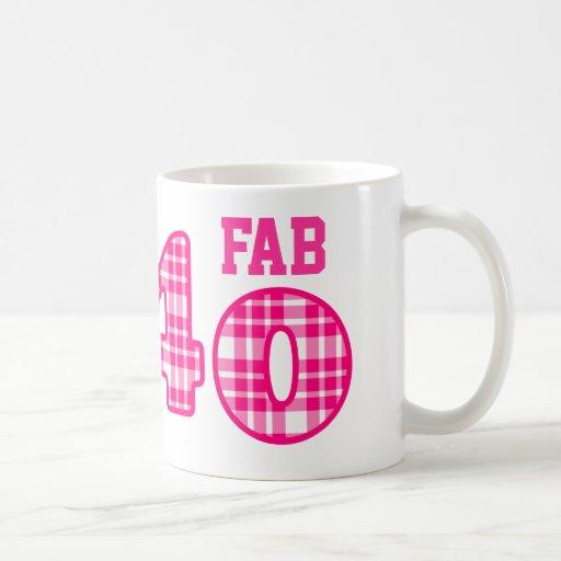FAB Forty 40th Birthday PINK and WHITE PLAID Mug