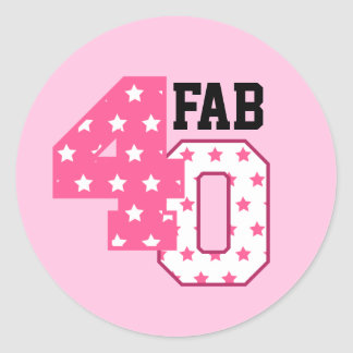 FAB Forty 40th Birthday PINK and WHITE STARS Round Sticker