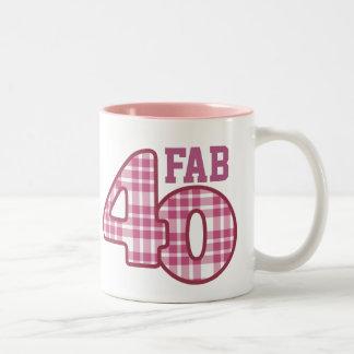 FAB Forty 40th Birthday PINK Plaid 2 Coffee Mug