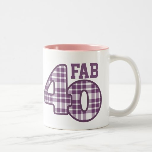 FAB Forty 40th Birthday PURPLE Plaid Mug