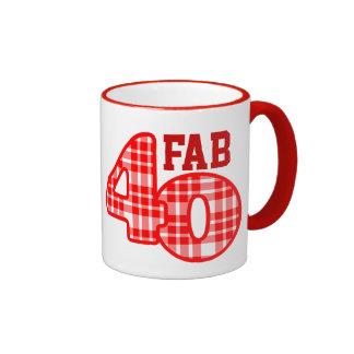 FAB Forty 40th Birthday RED Plaid Mugs