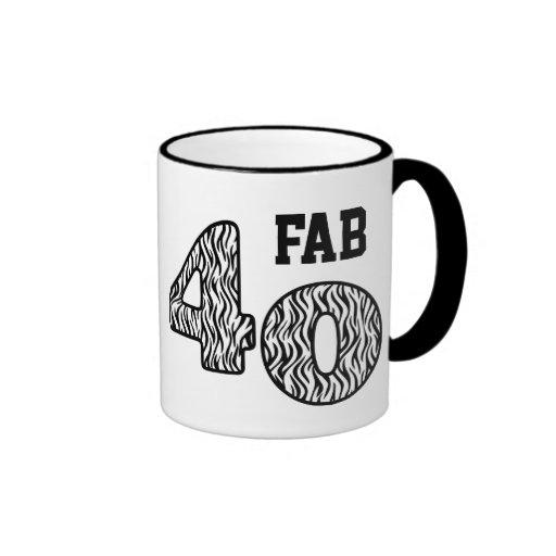 FAB Forty 40th Birthday ZEBRA Mug