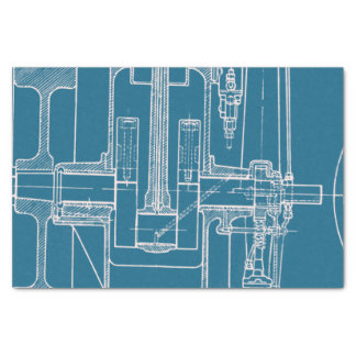 FaB MeChaNiCal DrAwinG BlUEpRiNT BlUe  AnD WhITe! Tissue Paper