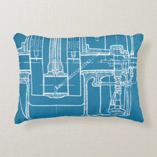 FAB MECHANICAL DRAWING BLUEPRINT BLUE  WHITE DECORATIVE CUSHION