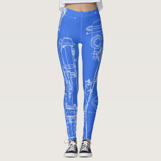 FAB MECHANICAL DRAWING BLUEPRINT WHITE YOUR COLOR LEGGINGS
