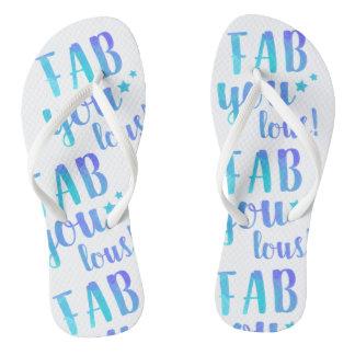 Fab YOU Lous Watercolor Blue Flip Flops