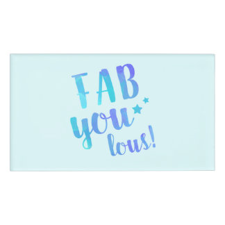 Fab YOU Lous Watercolor Blue Name Tag