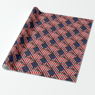 Fabric Effect US Flag Wrapping Paper