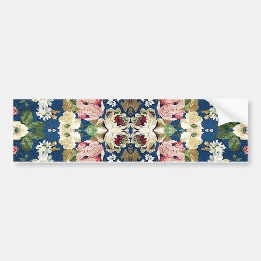 Fabric Floral Decorative Background Pattern Bumper Sticker