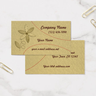 Fabric Flower Stitching Business Card