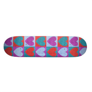 fabric heart love valentine pattern rustic burlap custom skateboard