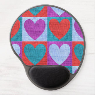 fabric heart love valentine pattern rustic burlap gel mouse pad
