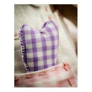 Fabric heart postcard