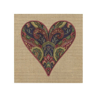 Fabric Heart Tapestry Collage Wood Canvases