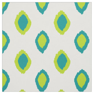 Fabric: Ikat pattern in teal and lime green Fabric
