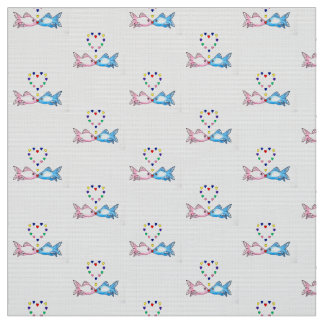 "Fabric: ""Kissing Fish"" with Hearts Fabric"