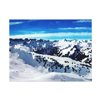 Fabric mountains under snow stretched canvas prints