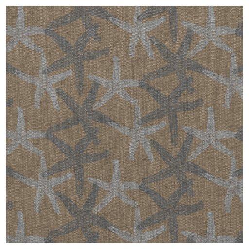 fabric Nautical starfish abstract grey white taupe