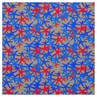fabric Nautical starfish abstract red blue  taupe