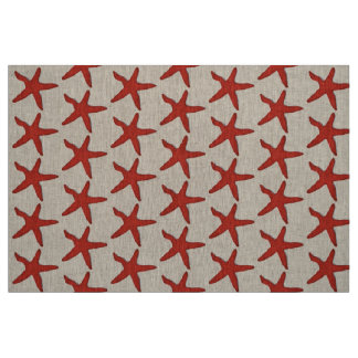 fabric Nautical starfish beach red