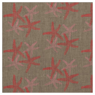 fabric Nautical starfish beach red pink taupe