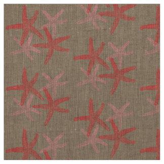 fabric Nautical starfish beach red pink taupe