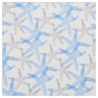 fabric Nautical starfish blue grey white