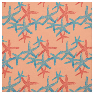 fabric Nautical starfish  blue red peach