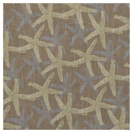 fabric Nautical starfish brown grey white yellow