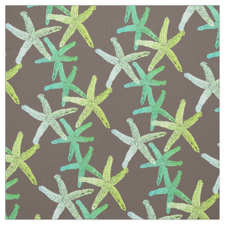 fabric Nautical starfish brown teal  green yellow