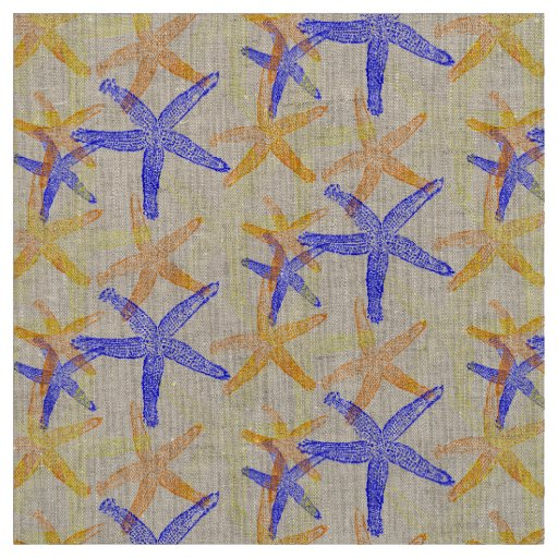 fabric Nautical starfish orange yellow blue