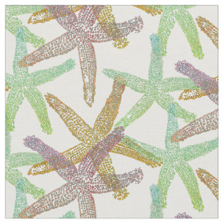 fabric Nautical starfish  pink green yellow white