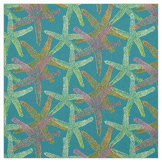 fabric Nautical starfish  pink teal yellow green