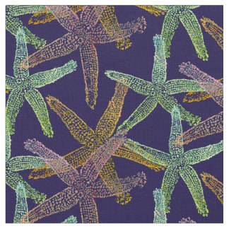 fabric Nautical starfish pink yellow green blue