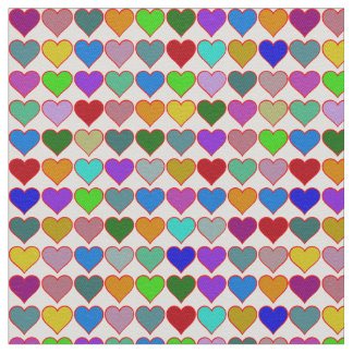 fabric of colorful hearts pattern