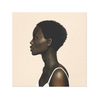 Fabric pink woman of profile canvas print