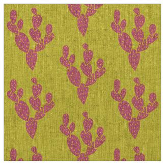 Fabric: Pink & Yellow Cacti Natural Linen Fabric